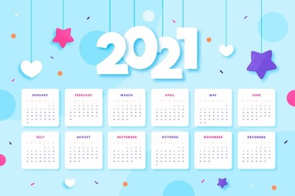 Calendario 2021 para niñas gratuito