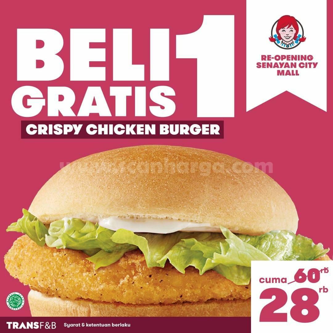 Wendys Senayan City Promo Re-Opening Beli 1 Gratis 1
