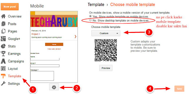 mobile template customization in blogger