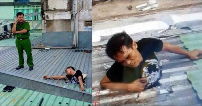 Thanh niên đi ăn trộm bị mắc kẹt trên mái tôn, công an đến giải cứu tiết lộ thêm lời khai ...