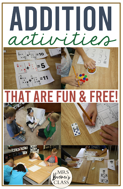 Addition math activities and math games that are fun and free for Second Grade