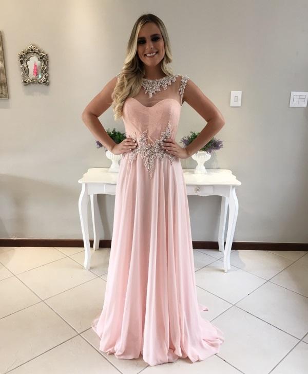 Vestidos longos rosa bebe