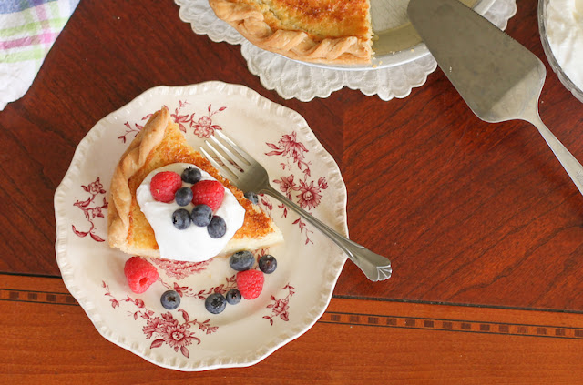 Food Lust People Love: Sweet buttermilk pie is a traditional southern dessert with a creamy tart filling, topped with a generous helping of snowy white whipped cream. Add a little fruit too, if you like.