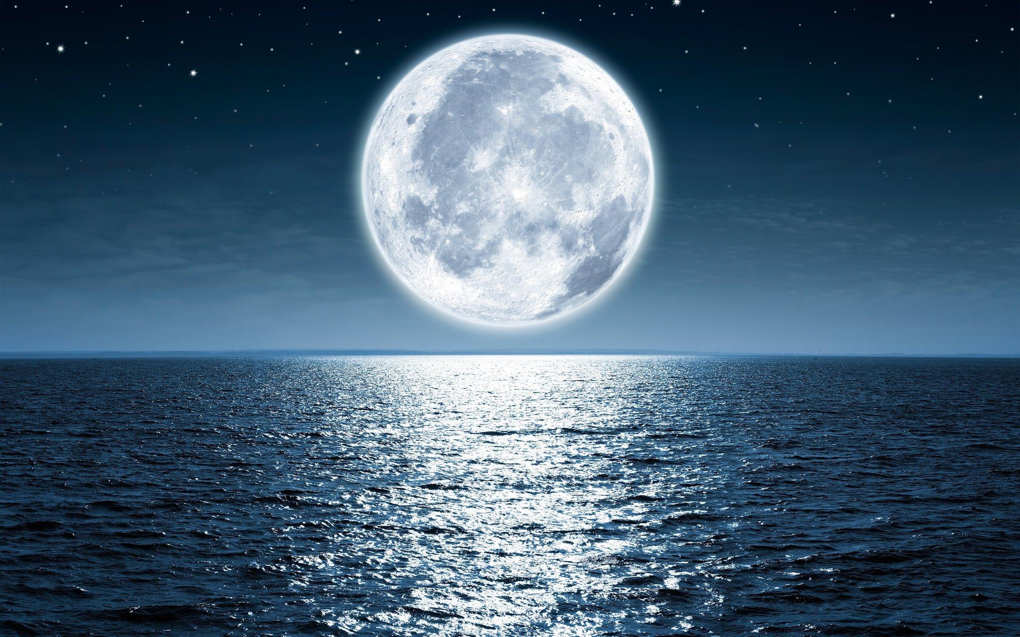 Moon Sea Night Wallpaper