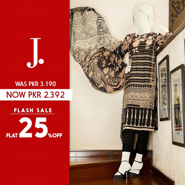 Junaid Jamsheed Black color lawn 3 PC suits collection