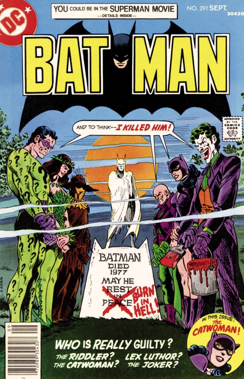 Riddler, Poison Ivy, Scarecrow, Lex Luthor, Catwoman, and Joker standing by monument of Batman all saying 'And to think -- I killed him!'