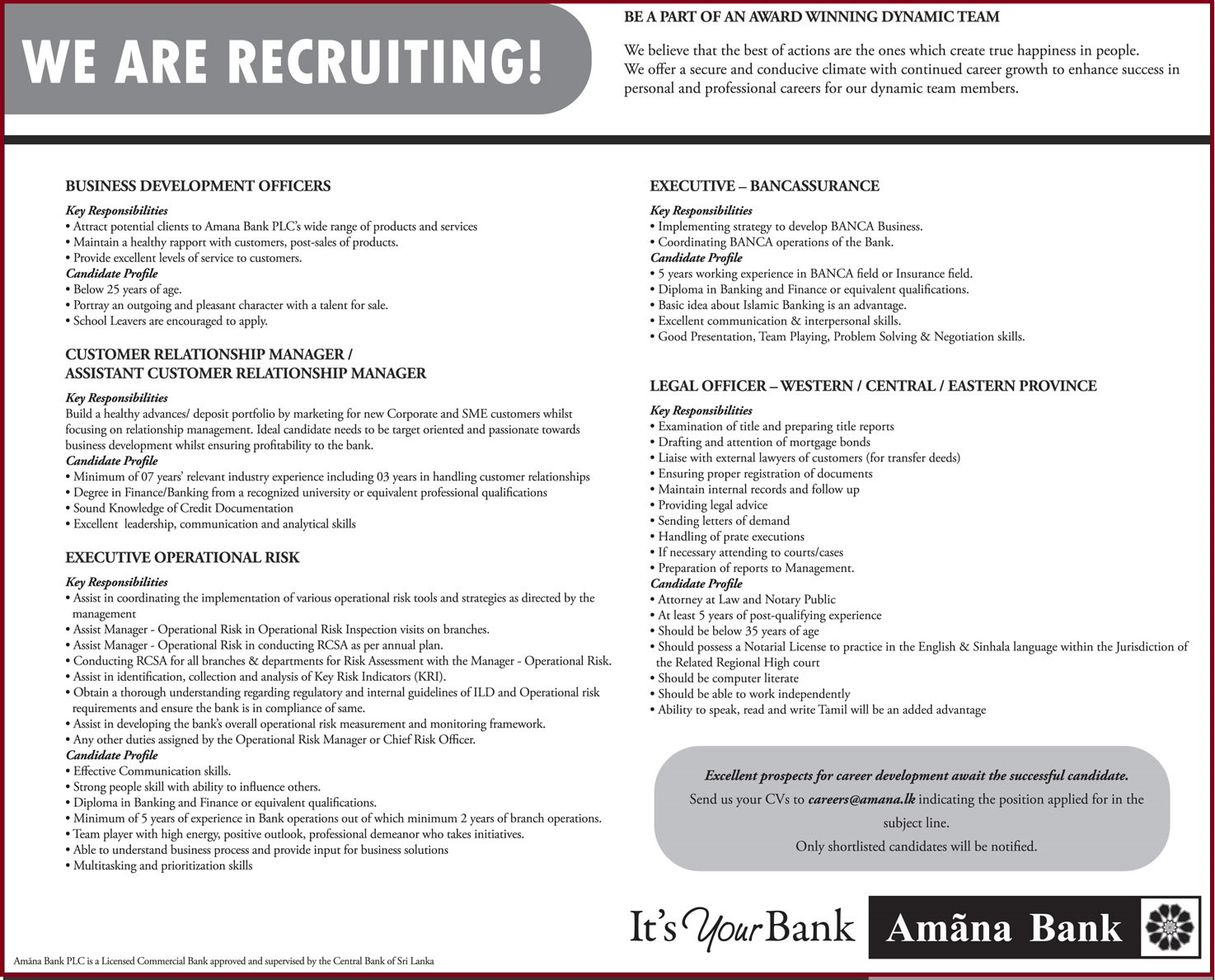 Amana Bank Vacancies