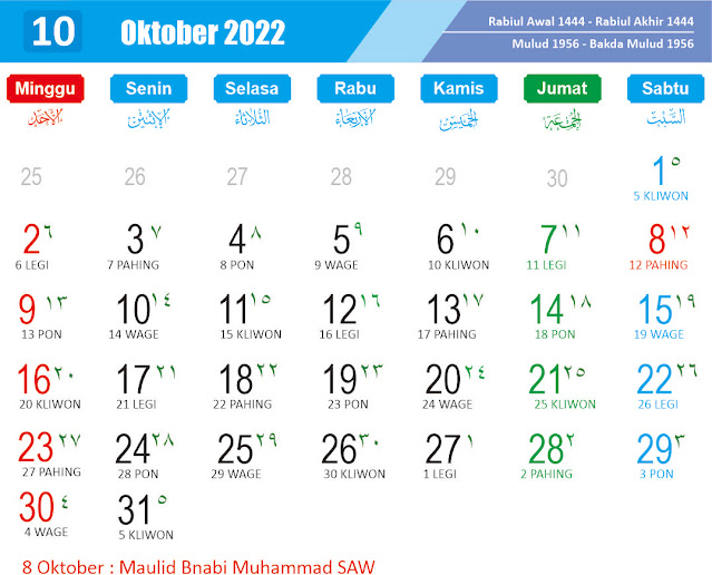 Kalender Oktober 2022