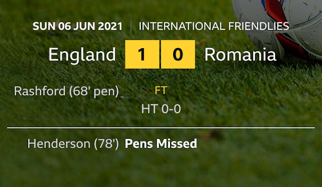 England wins Romania in a friendly match at the Riverside in Euros cup preparation