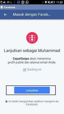 Cara Masuk dengan Facebook dari CepatSwipe
