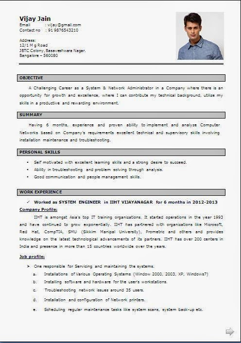 Ccna fresher resume format resume format for ccna freshers network engineer resume template yelopaper Images