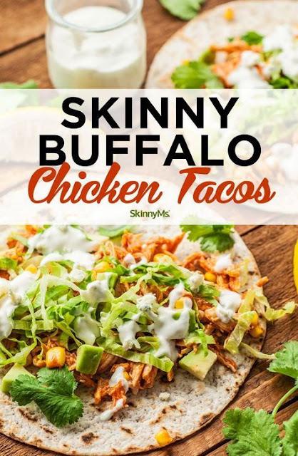 Skinny Buffalo Chicken Tacos|Healthy Dinner Recipes