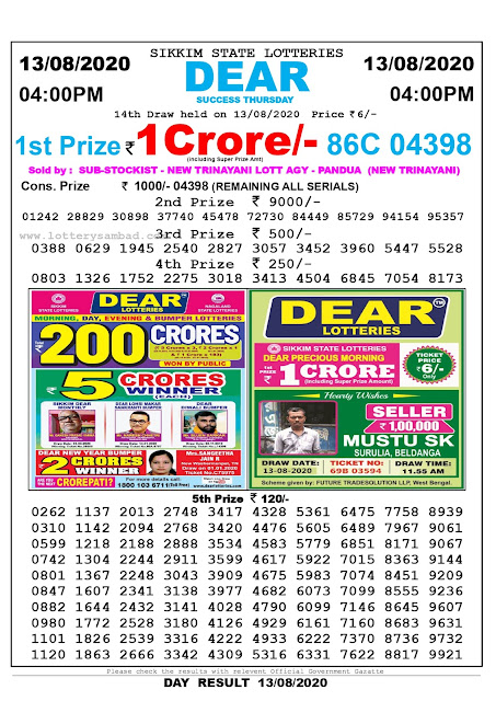 Sikkim State Lottery Sambad 13-08-2020 Today Result 4 PM