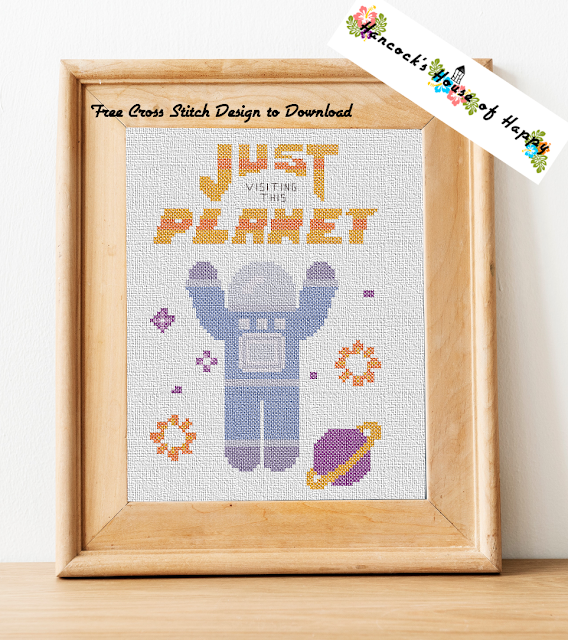 Easy Space Themed Cross Stitch Sampler Pattern for Beginners Free to Download