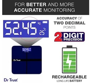 Dr.Trust (USA) Executive Rechargeable Digital Weighing Scale with Temperature Display