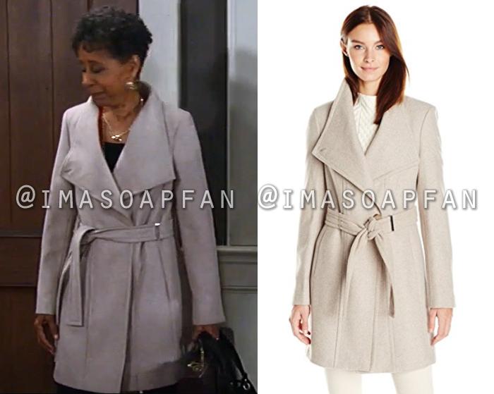 Stella Henry, Vernee Watson, Belted Beige Coat, Calvin Klein, General Hospital, GH