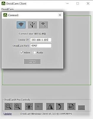 Conexión DroidCam por Wi-Fi