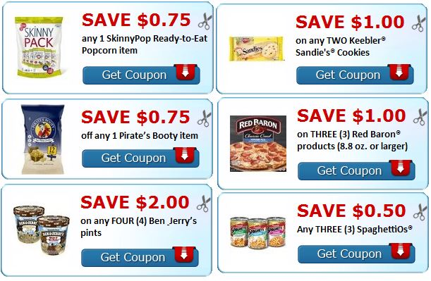 ben jerry's, pirate's botty, skinnypop, red baron, keebler coupons