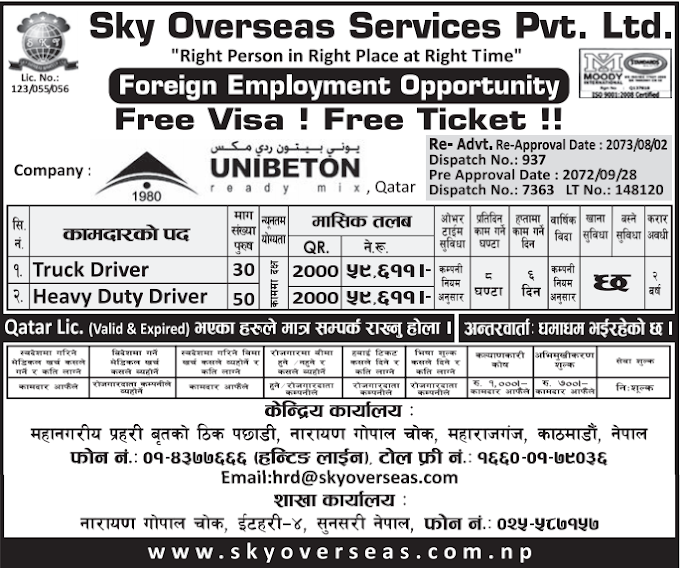 FREE VISA! FREE TICKET!! Jobs For Nepali In Qatar Salary- Rs.59,611/