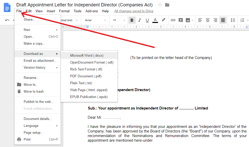 Appointment Letter for Independent Director in word format
