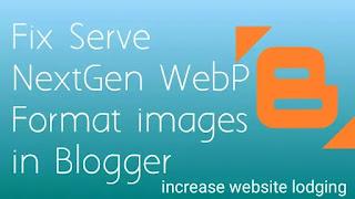 Fix Serve NextGen WebP Format images in Blogger, Webp Blogger
