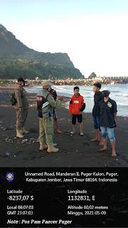 Gabungan Petugas Puger - Gumukmas Giat Pengamanan di Pantai Pancer