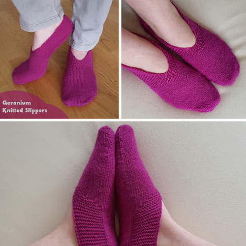 Geranium Knitted Slippers - Free Pattern