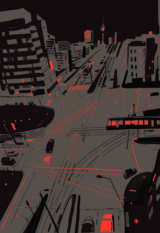 Christoph Niemann art, a city at night in a birdseye view