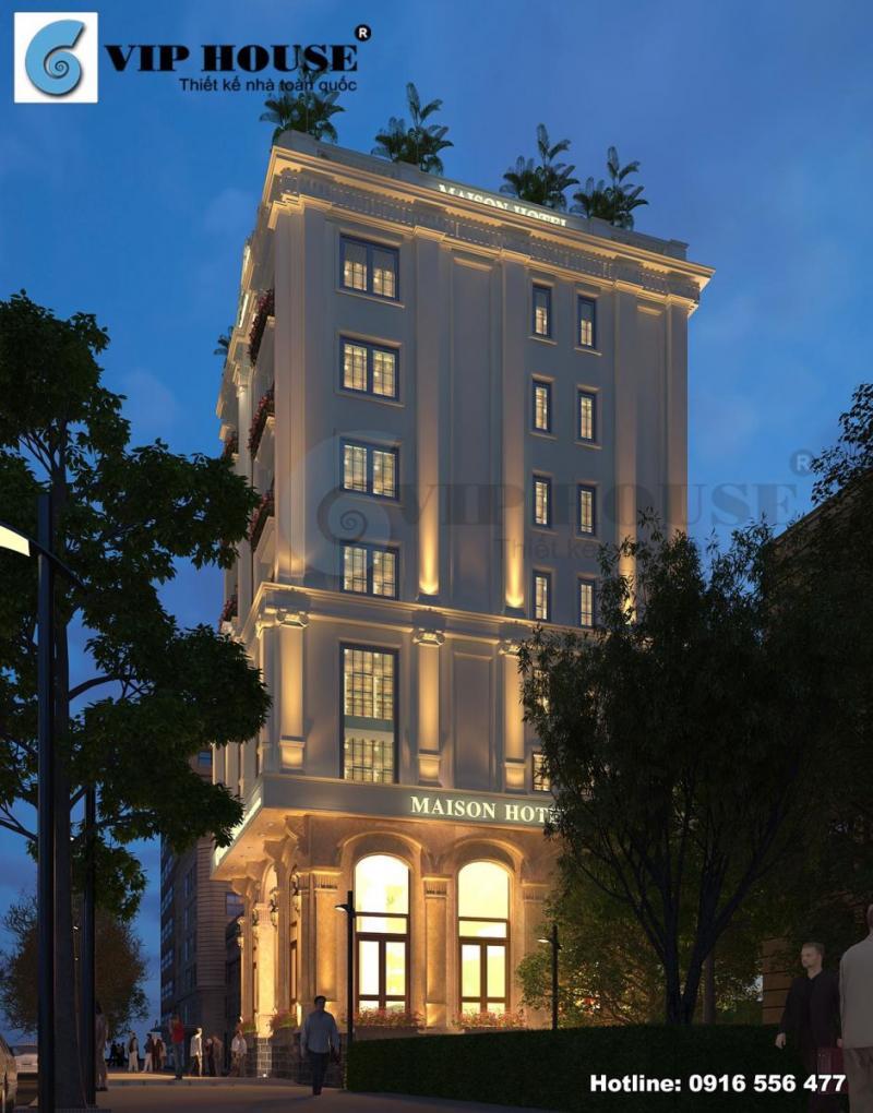Hình ảnh: Phối cảnh dưới ánh đèn lung linh của thiết kế khách sạn tân cổ điển hai mặt tiền.