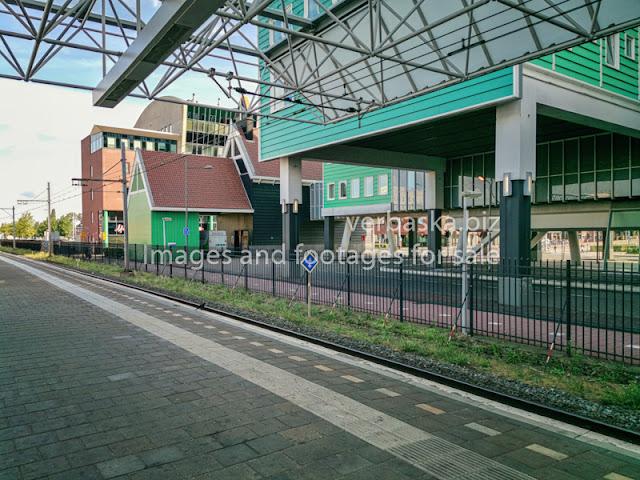 View of backside of Zaanstad City Hall taken from Zaandam railway platform, Netherlands