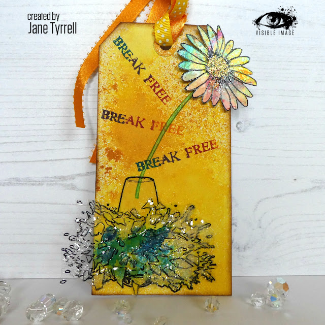 mixed media tag | smashed vase stamp | daisy