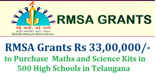 Rc 42 RMSA Grants to Purchase Maths and Science Kits in 500 High Schools | Commissioner of Directorate of School Education DSE, Hyderabad Telangana issued orders to purchase Science kits and Maths Kits from RMSA Grants Certain guidelines issued | Rashtreey Madhyamika Shiksha Abhiyan RMSA Telangana released Rs33,00,000 a per the minuts | Headmasters of the said 500 High Schools strictly instructed to purchase/Procure Mathematics and Science Kits as per the Guidelines/Norms issued by the DSE/RMSA Hyderabad Telangana rc-42-rmsa-grants-to-purchase-maths-and-science-kits-guidelines-norms-download