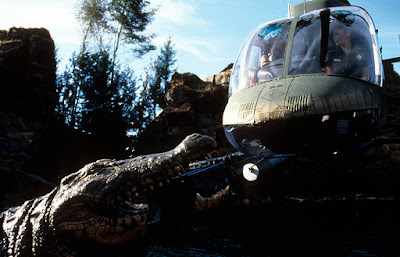 Lake Placid 1999 horror movie still crocodile helicopter