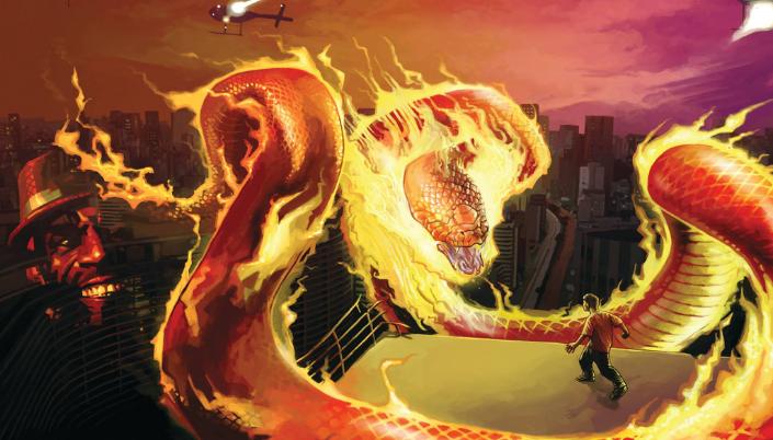Imagem: ilustração de uma enorme serpente de fogo flutuando entre os prédios de uma enorme cidade, provavelmente São Paulo, e um garoto adolescente em cima de um prédio observando tudo.