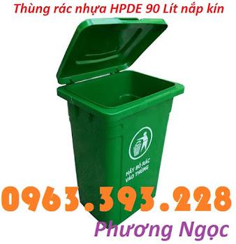 Thùng rác nhựa 90L nắp kín, thùng rác 90 Lít công cộng, thùng rác nắp kín TR90LNK4