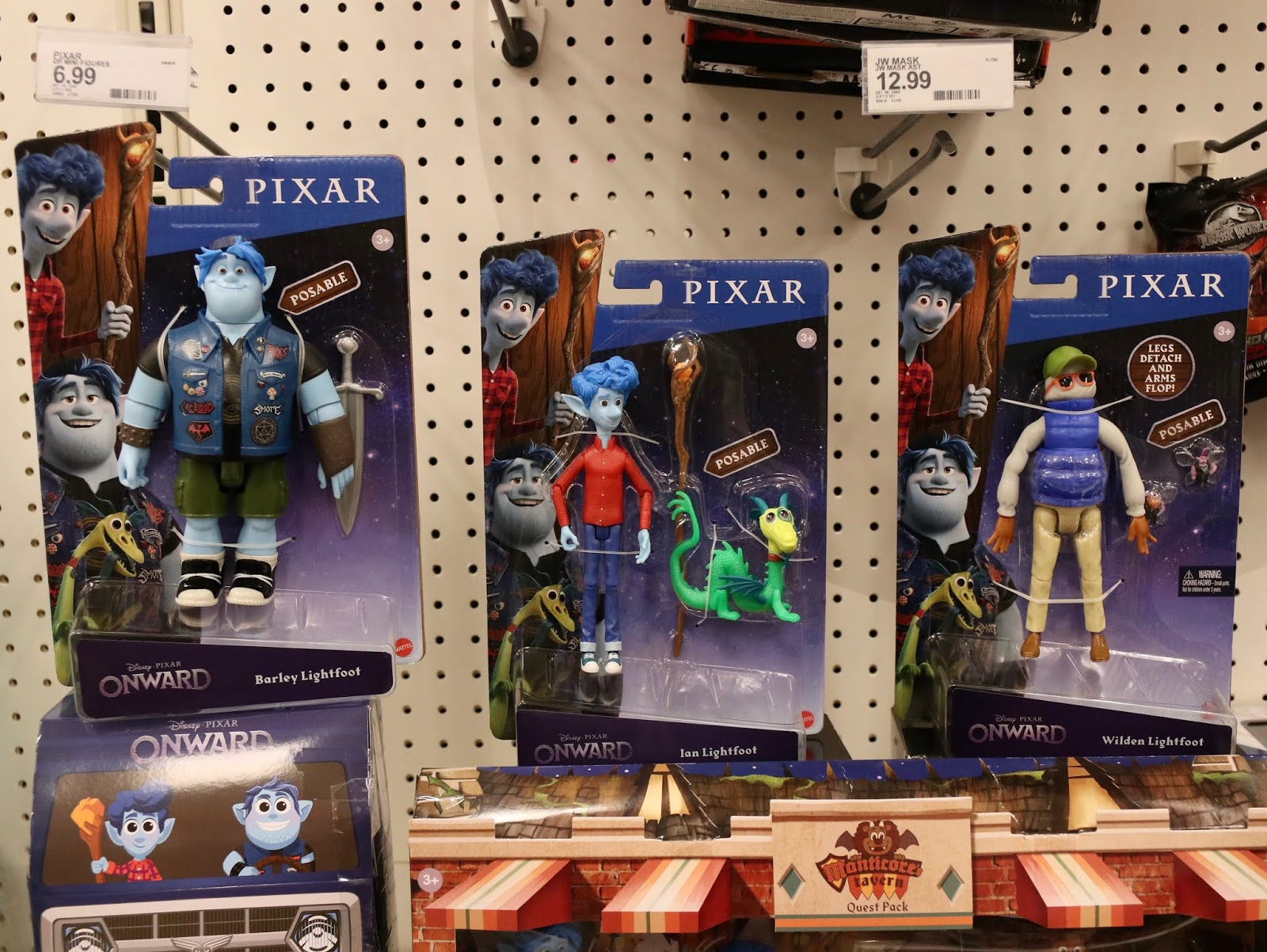 Pixar onward action figures, Ian, Barley and Wilden