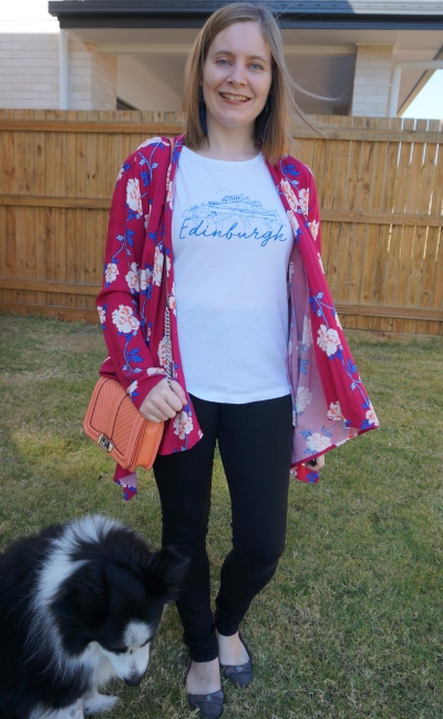 graphic tee and nobody denim skinny jeans cotton on leah magenta floral kimono peach love bag | awayfromblue
