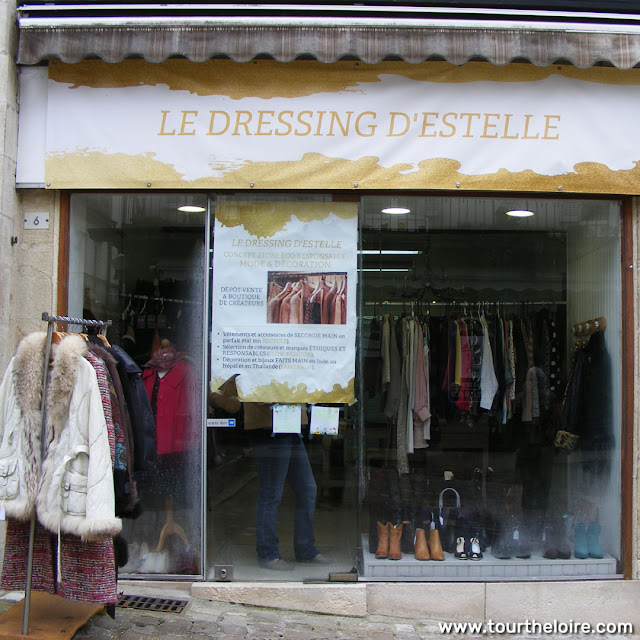 Second-hand clothing boutique, Loches, Indre et Loire, France. Photo by Loire Valley Time Travel.