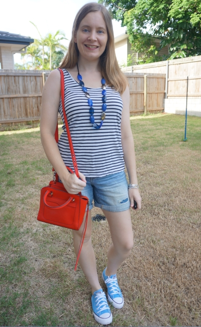 striped tank distressed denim shorts, converse and Rebecca Minkoff red micro Avery cross body bag   away from the blue