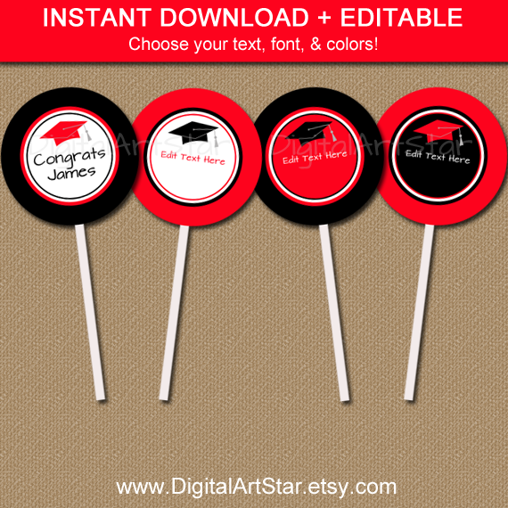 editable graduation party printable cupcake toppers in red and black