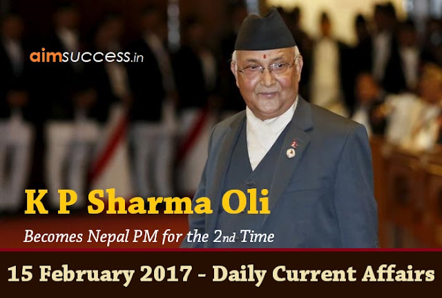 15 February 2017 - Daily Current Affairs