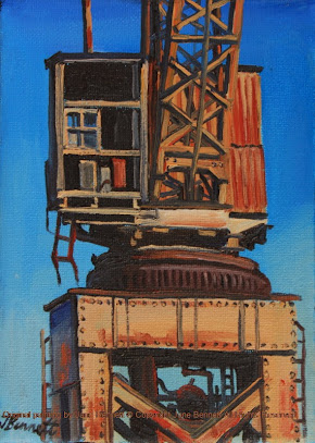 plein air oil painting of crane on Cockatoo Island by industrial heritage artist jane Bennett