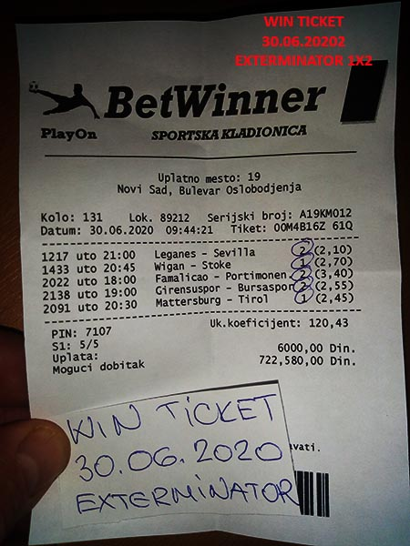 WIN TICKET FROM YESTERDAY TUESDAY/ UTORAK 30.07.2020