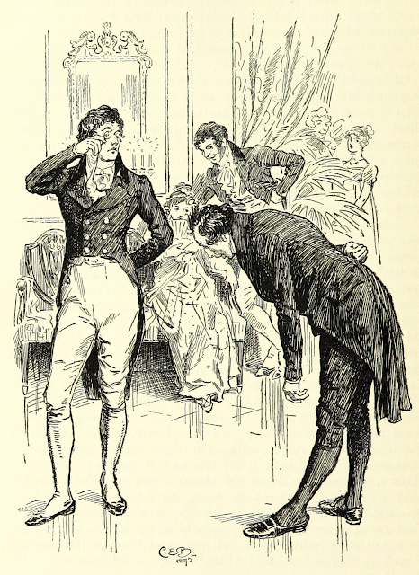 Mr Collins introduces himself to Mr Darcy by C E Brock (1895) from Pride and Prejudice by Jane Austen (1895 edition)