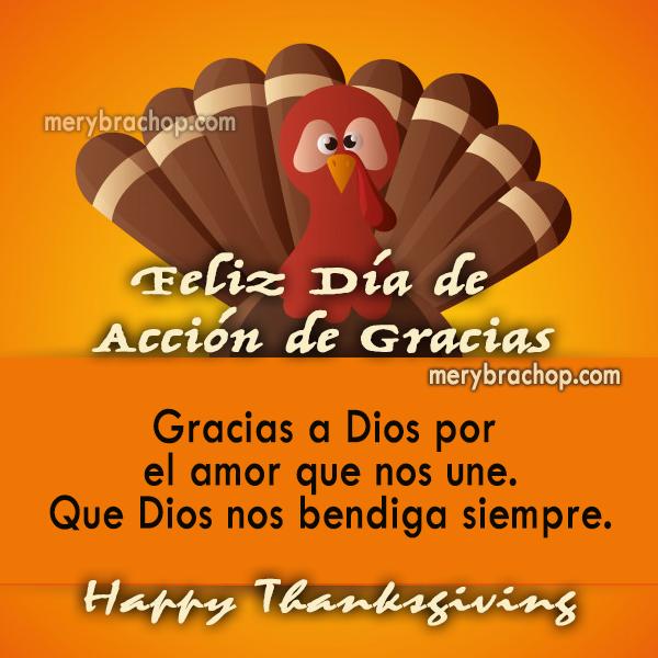 imagen con pavo frases dia de accion de gracias Dios nos bendiga mensaje cristiano