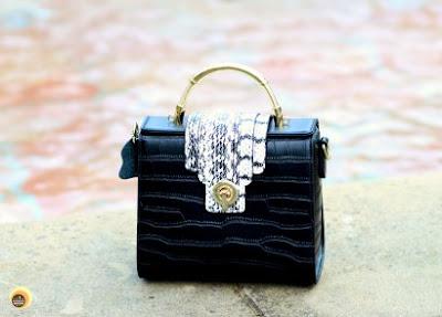 Baginning black crocodile printed snakeskin strap leather satchel handbag review on NBAM Blog
