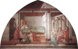 A scene from Lippi's fresco series in the  cathedral in the Tuscan city of Prato