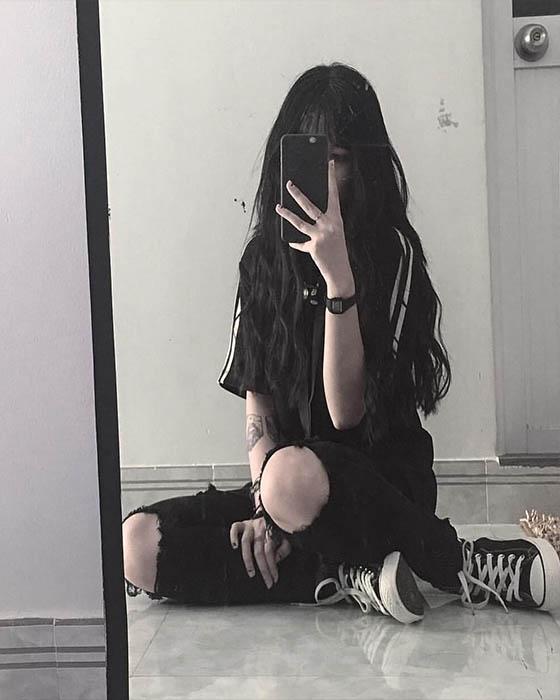 poses tumblr en el espejo sola