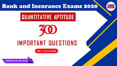 Quantitative Aptitude TOP 300 Questions (Season - 1) - Part 1
