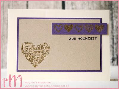 Stampin' Up! rosa Mädchen Kulmbach: Hochzeitskarte in Vanille mit Language of Love, Framelits Stickmuster, Wintermedaillons und Grußelemente